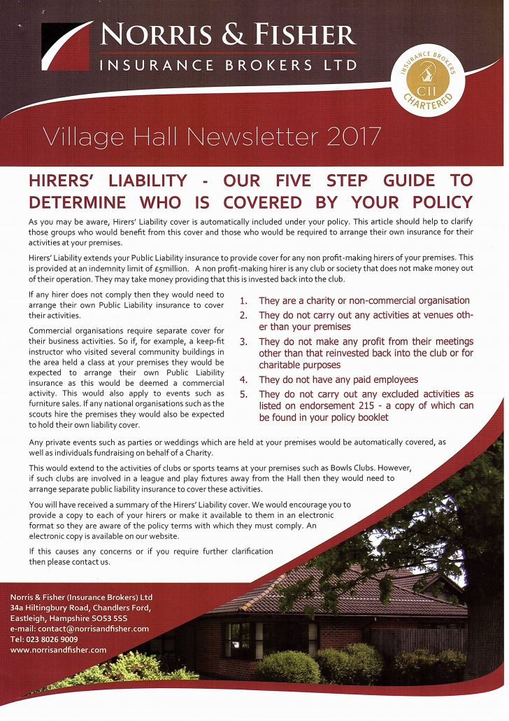20170623 Norris and Fisher Policy Hirer's Liability Cover